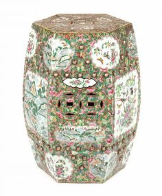 Chinese Export Famille Rose Garden Seat Third Quarter 19th Century;  Hexagonal Porcelain Garden Seat