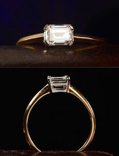 Emerald Cut Diamond horizontal is perfect! But all white gold and if the band pinched in at the diamond. Emerald Cut Rings, Emerald Cut Diamonds, Diamond Rings, Diamond Cuts, Ruby Rings, Emerald Jewelry, Solitaire Ring, Wedding Rings Vintage, Vintage Rings