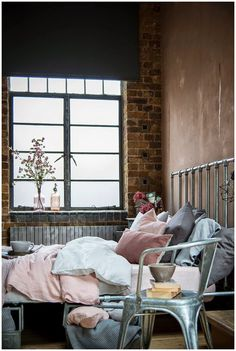 Perfect! A loft that looks homely!!Chic feminine warehouse home