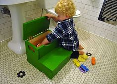 Child's Step Stool with Storage Space