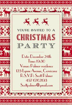 christmas sweaters pattern printable invitation customize add text and photos print - Free Christmas Invitation Templates