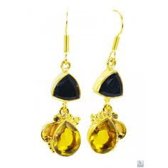 Riyo Real Black Onyx Citrine Cz 18kt Gold Plated Copper Earring Gpemul-52016