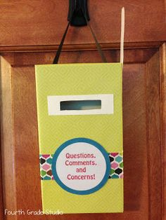 """The Teacher Studio: Learning, Thinking, Creating: Made It Monday!: """"Questions, comments, & concerns"""" mailbox - for students to share home concerns, for student grievances w/ group tables, for shy students to ask questions, for students to ask for challenges in certain skills, etc."""