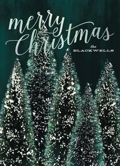 """Winter Christmas tree holiday card. """"Flocked Christmas"""" by Minted artist, Baumbirdy."""