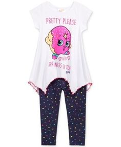 """Abdo : Illustration Description Shopkins Ensemble chemise et leggings, petites filles – assorties """"Nothing will work unless you do"""" ! Shopkins Outfit, Shopkins Clothes, Toddler Outfits, Kids Outfits, Cute Outfits, Baby Girl Pajamas, Chore Chart Kids, Justice Clothing, Squat"""