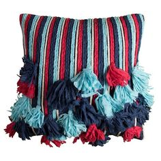 Rizzy Home Frayed Rope Throw Pillow Multi Colored (18 x 18)