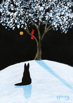 Black German Shepherd Dog folk art print of Todd Young painting WINTER SONG