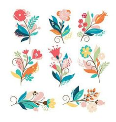 Referencia de flor Set of cute cartoon flowers vector by Lenlis on VectorStock® Art Floral, Motif Floral, Folk Art Flowers, Flower Art, Paper Flowers, Sun Flowers, Bouquet Flowers, Flowers Garden, Colorful Flowers