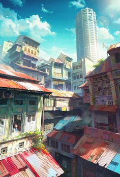 Lovely Illustrations Of Cityscapes Inspired By Southeast Asia Malaysian digital illustrator Chong Fei Giap's illustrations of cityscapes are lovely and inspiring. Fantasy Landscape, Landscape Art, Illustrator, Japon Tokyo, Animation Background, Art Background, Matte Painting, Anime Scenery, Jolie Photo