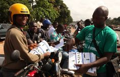 This photo shows Samaritan's Purse handing out fliers warning people about Ebola and how to protect themselves from the Virus.