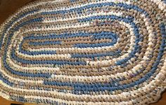 Handmade Oval area rag rug.  Sand & Sea. Blues beiges #BeachDecor #SandAndSea #BlueRagRug #BeigeRagRug #MachineWashableRug #HandmadeRug #RunnerRug #OceanDecor