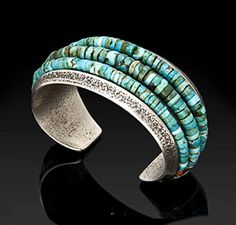 Beautiful turquoise Charles Loloma sterling silver cuff
