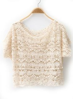 Beige Short Sleeve Embroidery Hollow Batwing Blouse