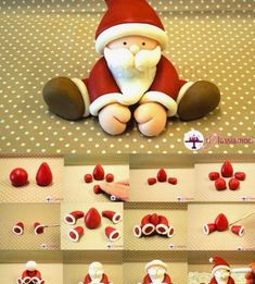 Lo Shop di Ricettesegrete.it Tutto per il Cake Design | TUTORIAL BABBO NATALE Clay Christmas Decorations, Christmas Cake Designs, Christmas Cake Topper, Polymer Clay Christmas, Christmas Ornaments To Make, Easy Christmas Crafts, Christmas Wood, Xmas, Clay Art Projects