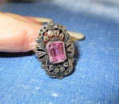 RING  - PINK  -  KUNZITE  - Marcasite - Antique - Ornate  Estate Sale - 925 - Sterling Silver  - size 7 1/2  pink 130 by MOONCHILD111 on Etsy