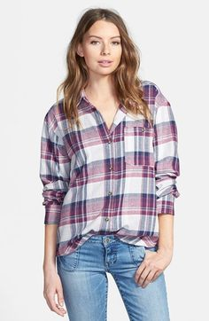 Mimi Chica Plaid Cotton Flannel Shirt (Juniors) available at #Nordstrom