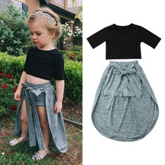 Trendy Toddler Kids Girls Clothes round neck Half sleeve pullover Tops solid bandage Shorts cotton Baby newborn outfits ideen for teens frauen shorts outfits Dresses Kids Girl, Kids Outfits Girls, Toddler Girl Outfits, Cute Outfits, Kids Girls, Trendy Toddler Girl Clothes, Girl Toddler, Stylish Clothes, Baby Girls