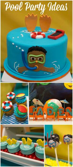 Check out this pool party with colorful beach balls and pool related treats! See more party ideas at CatchMyParty.com!