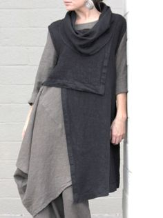 BRYN WALKER Flax HEAVY-weight Linen PIA VEST Cowl Tunic L (L/XL) BLACK