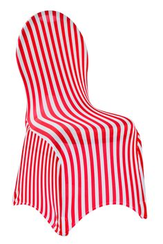 Spandex Banquet Chair Cover - Stripe RED & White ● $4.89 ● Available at www.cvlinens.com Spandex, Banquet Chair Covers, Table Overlays, Wedding Decorations On A Budget, Chair Sashes, Plan Your Wedding, Event Decor, Red And White, One Piece