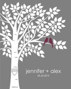 Guestbook Alternative Signature Tree Guest Book Tree Personalized Wedding Print - 16x20 - 125 Signature Keepsake Guestbook Poster