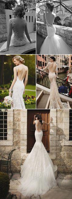 Sexy Deep V-shape Backless Mermaid Wedding Dresses 2015 trends