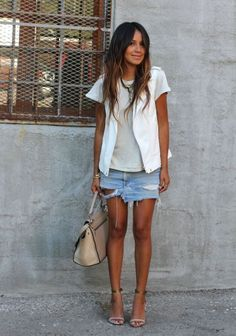 Sincerely Jules style distressed denim mini skirt