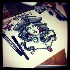 zombie pirate pinup tattoo flash   Tumblr