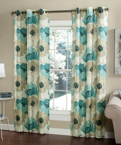 Loving this Aqua Poppies Curtain Panel - Set of Two on #zulily! #zulilyfinds