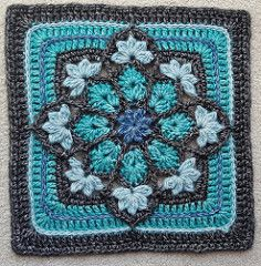 JulieAnny's Stained Glass Afghan Square pattern by Julie Yeager -Wild Salt Spirit: This afghan square is fast, fun and deceptively easy to crochet. Use black as your outline for a stained glass effect, or go with a bright or muted palette. Crochet Motifs, Crochet Blocks, Granny Square Crochet Pattern, Crochet Squares, Crochet Granny, Crochet Blanket Patterns, Crochet Stitches, Knitting Patterns, Crochet Afghans