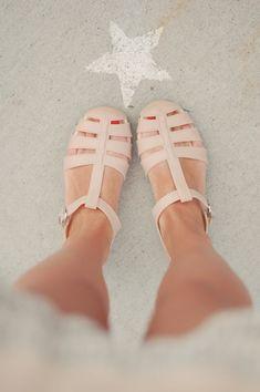 Emilee Anne wearing Chanel pink jellies