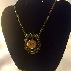 12 Gauge Shotgun Shell and Horseshoe Necklace on Chain - Bullet Jewelry - Gifts For Her - recycled Bullet Necklace, Horseshoe Necklace, Brass Necklace, Ammo Jewelry, Bullet Jewelry, Jewelry Gifts, Brass Chain, Shotgun, Rodeo
