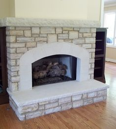 Caney Fork building stone with top ledge Limestone fireplace