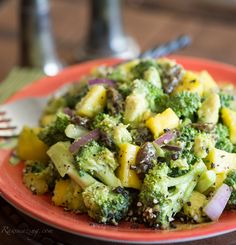"Avocado Mango Broccoli Salad    serves 4-6    2 ripe avocados, cubed  2 ripe mangoes, cubed  2 – 3 cups broccoli, cut into bite size pieces  1/2 cup red onion, chopped  3/4 cup raisins  Himalayan salt and fresh ground pepper to taste.   1. Combine all ingredients. Chill and serve!     *Make sure you have nice ripe avocados and mangoes and this salad will ""dress"" itself!"