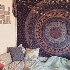 Popular Hippie Mandala Bohemian Psychedelic Intricate Floral Design Indian Bedspread Magical Thinking Tapestry 84x90 Inches,(215x230cms) Blue