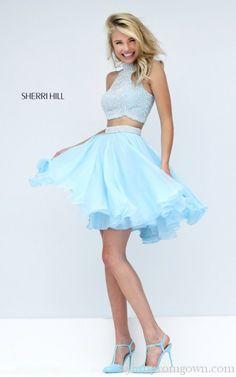 Blue Sherri Hill 50179 A Line Two Piece Prom Dress 2016