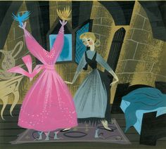 """Mary Blair, """"Visual development of birds and mice showing Cinderella her gown"""" for """"Cinderella,"""" 1950, gouache on paperboard. (Courtesy Walt Disney Family Foundation / Eric Carle Museum of Picture Book Art)"""