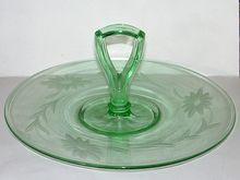 Elegant Depression Glass Center Handle Tray Sandwich Plate Wheel Cut Floral Green  DecAura Vintage Retro Modern   $24.00
