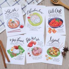 Singapore Food Postcards (Set of - Food Illustration Cool Eye Drawings, Desserts Drawing, Notebook Drawing, Food Doodles, Food Sketch, Watercolor Food, Singapore Food, Food Painting, Card Book