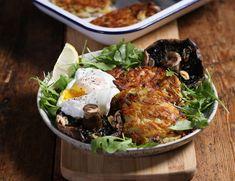 Cheesy Röstis with Poached Eggs & Roasted Portobellos Recipe Large Salad Bowl, Salad Bowls, Egg Roast, Coles Recipe, Roasting Tins, Potato Sides, Frittata Recipes