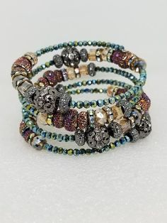 Dazzling memory wire bangle bracelet for women. Adorned with glass faceted beads and crystal beads. Wraps beautifully around most any wrist size. Memory Wire Jewelry, Memory Wire Bracelets, Bohemian Bracelets, Crystal Bracelets, Crystal Beads, Bohemian Jewelry, Beaded Jewelry, Silver Jewelry, Bracelet Wrap