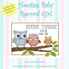 Hooties Baby Record Girl : MiniCrossStitch, The World of Small Stitchery