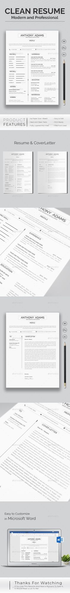 How To Make A Resume With Word New Resume Word Template  Cv Template With Super Clean And Modern Look .