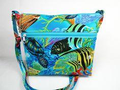 Tropical Fish Handmade Fabric Purse / Cross Body Handbag by darlingsdesigns on Etsy