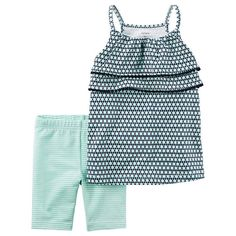 Baby Girl Carter's Geometric Tiered Tank Top & Striped Bike Shorts Set, Size: 24 Months, Ovrfl Oth