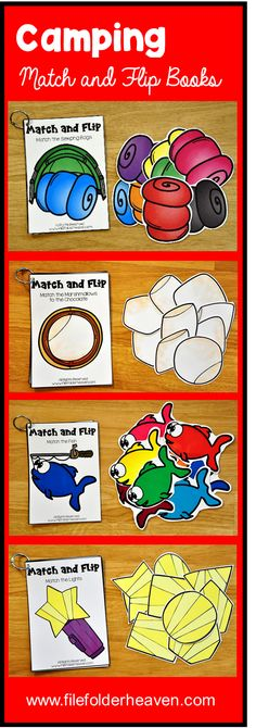 These Matching Activities: Camping Match and Flip Books focus on basic matching skills. In these activities, students work on matching picture to picture (exact match) matching by shape and matching by color.  There are four Match and Flip Books included in this download.  Match the Sleeping Bags (Matching By Color) Match the Marshmallows to the Chocolate (Matching By Shape) Match the Lights (Matching By Shape) Match the Fish (Matching By Color)