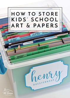Organization Ideas kids How to Organize Paperwork From permission slips to art projects, pictures and memories, get lots of ideas for organizing, sorting and storing kids paperwork! Diy Organizer, Kids School Organization, Organization Ideas, Storage Ideas, Filing Cabinet Organization, Kids Art Storage, Memory Storage, Organizing Paperwork, Organizing School Papers