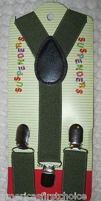BOYS GIRLS KIDS ARMY/OLIVE GREEN CLIP-ON Y-Back Elastic Suspenders 1.5CM WIDTH