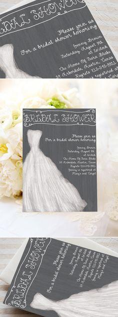 wedding dress inspired white and grey elegant bridal shower invitations