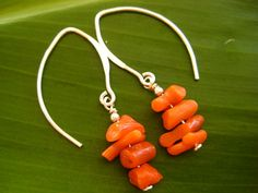 Stacked Coral Sterling Silver Earrings E28.1 by debbyhawaii
